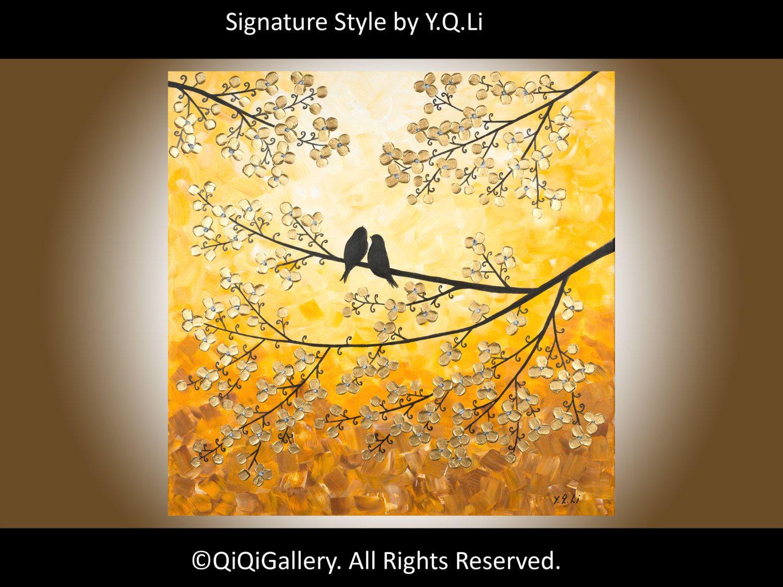 ORIGINAL Acrylic Painting Love birds Painting HEAVY Texture Impasto ...