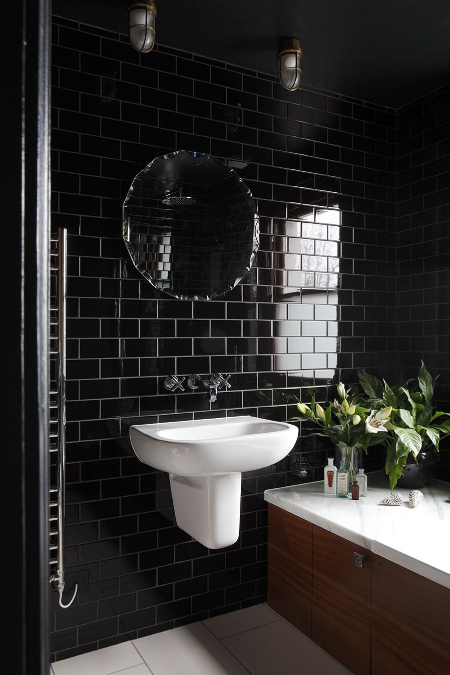 Black Bathroom With Traditional High Gloss Black Tiles With Iroko