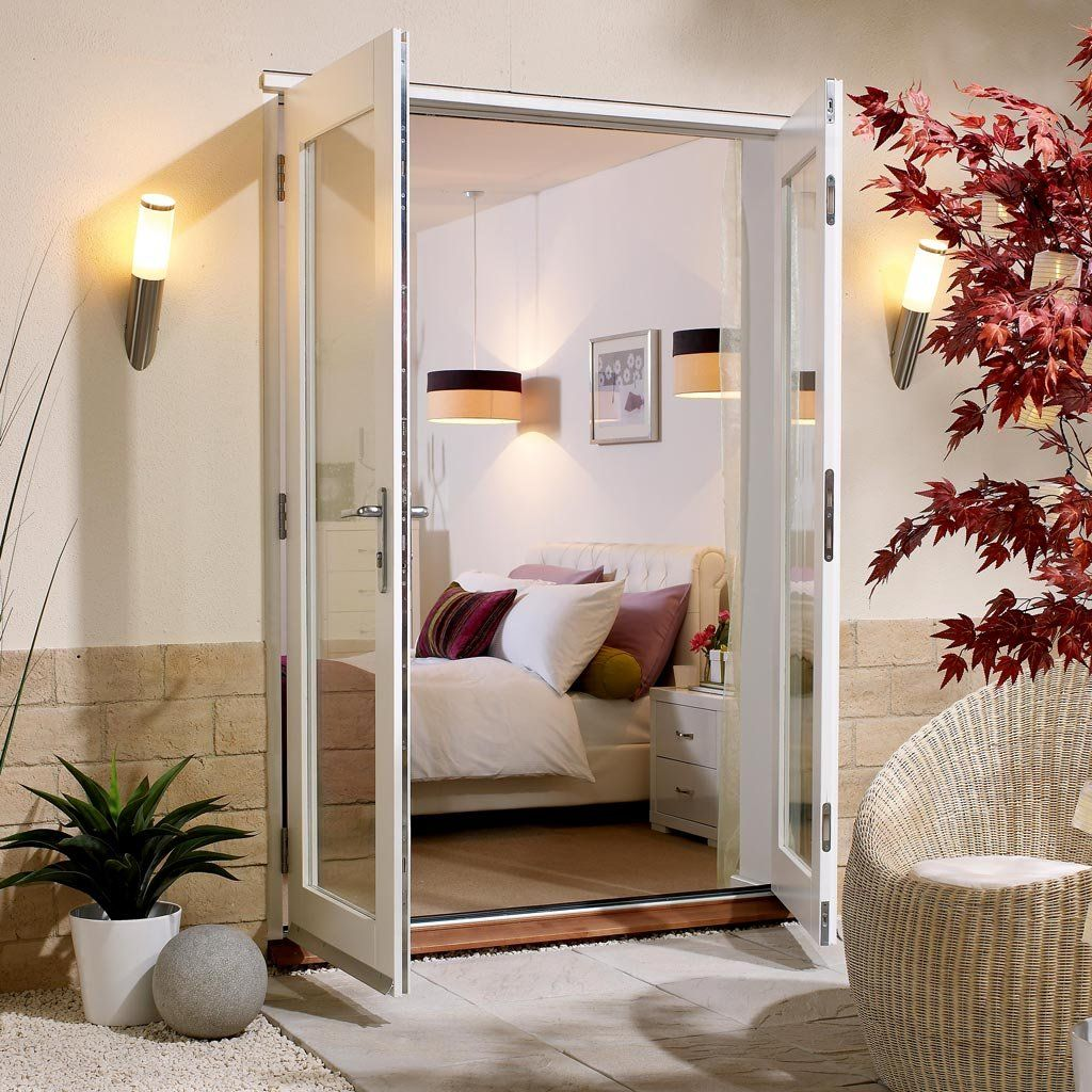 Nuvu Exterior White French Door And Frame Set Fully Decorated