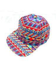 Geo Geometric Print Multi Color Stripe Snapback Baseball Cap Hat New Red