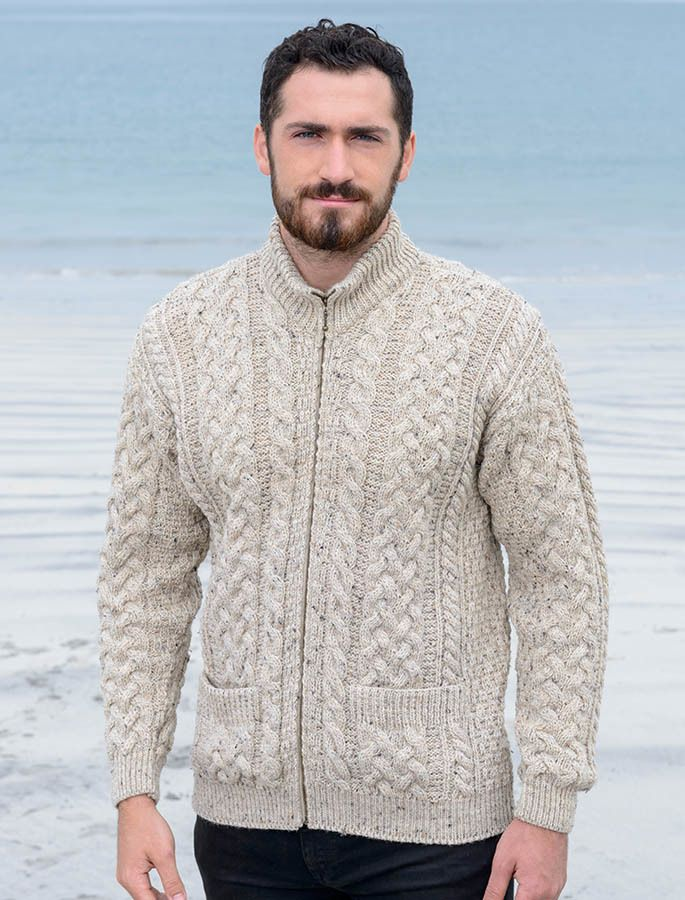 Men\'s Aran Zip Cable Knit Cardigan   Pinterest   Puntos
