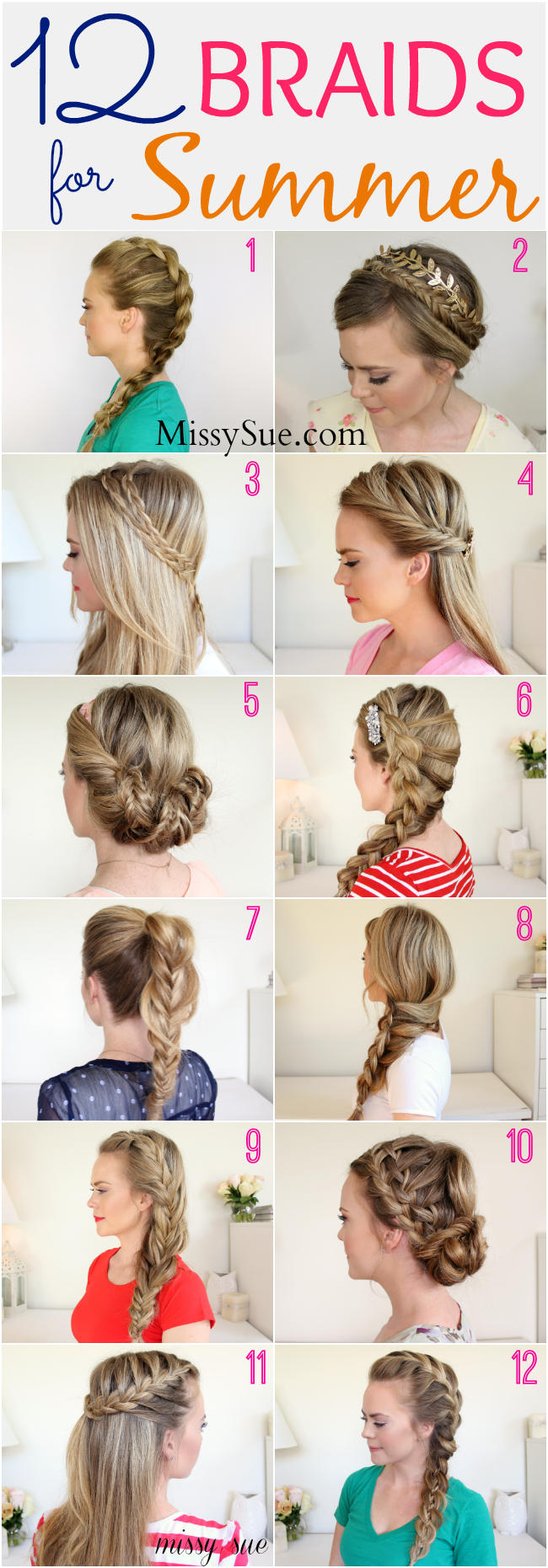 11 Braids for Summer  Pretty braided hairstyles, Hair styles
