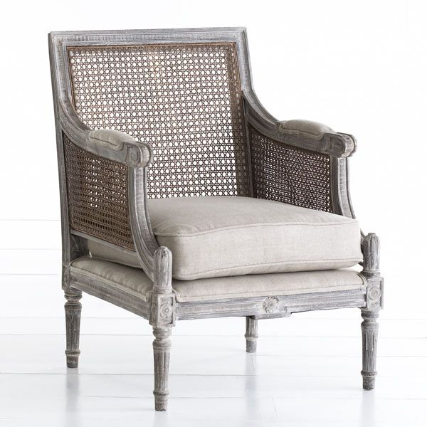 Linen and Cane-Back Chair Chairs