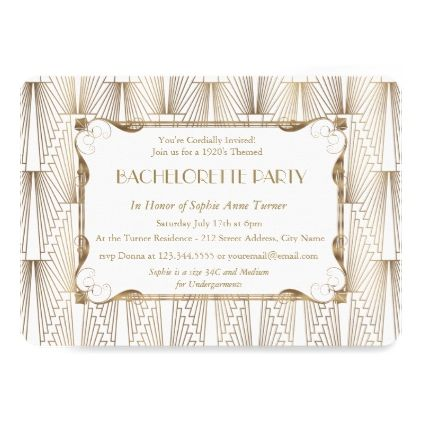roaring 20 s great gatsby white bachelorette party card