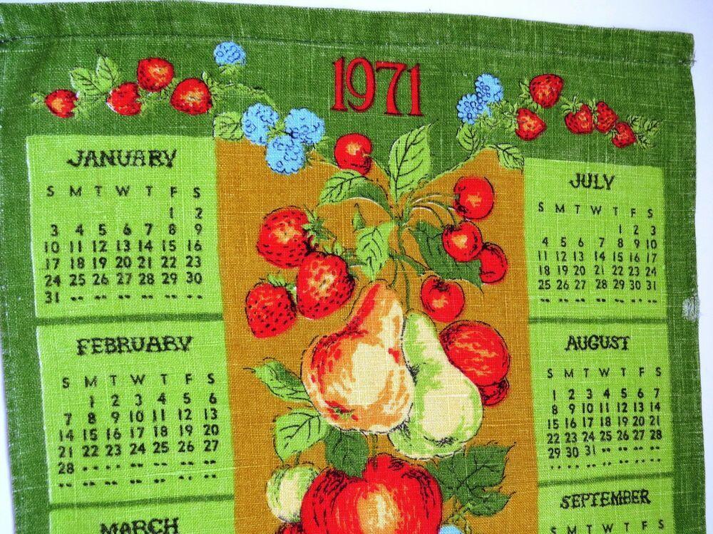 1971 Calendar Tea Towel Fruit Dish Towel Apples Pears Strawberries