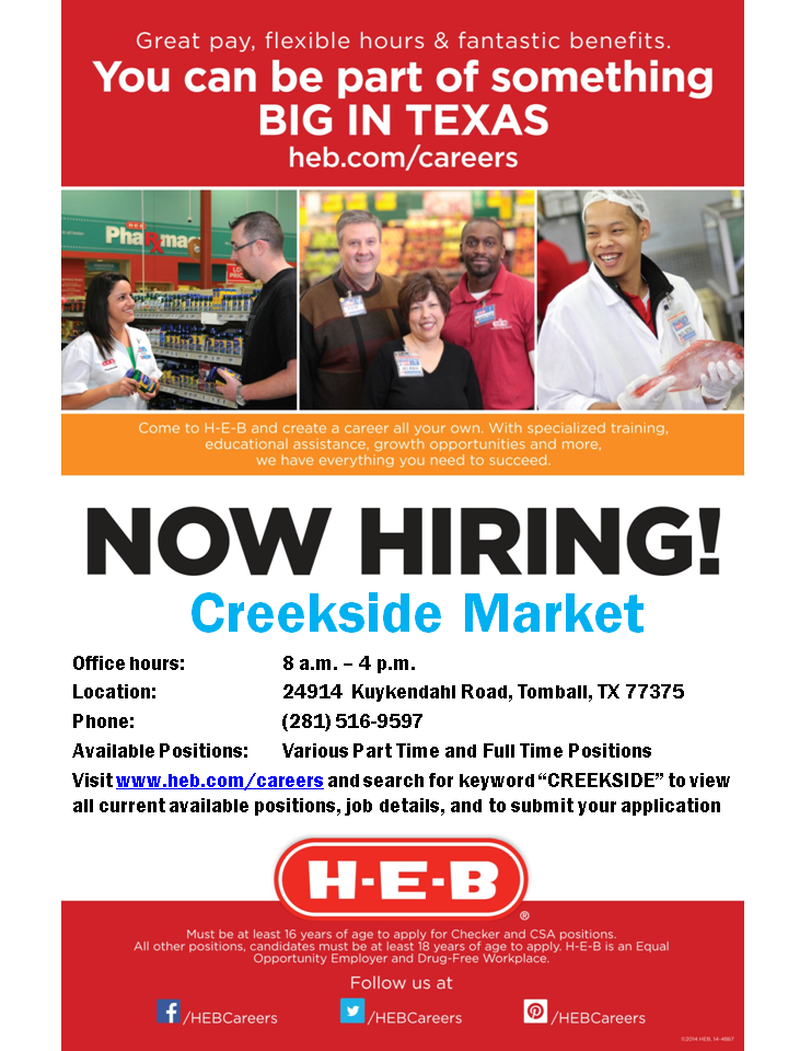 HEB Careers Fans, our new Woodlands 5 store will be