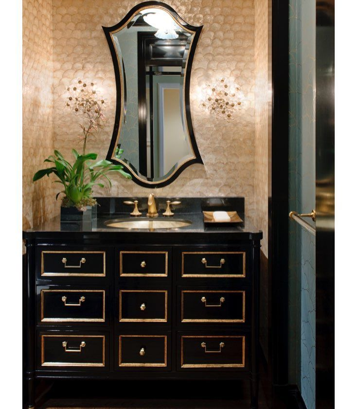 Bathroom Vanities Dfw black n gold a fitting combination #interiors #interiordesugn