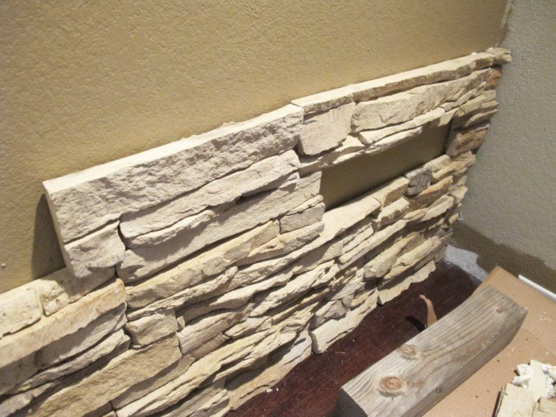 diy installing faux stone indoors diy projects faux stone stone fireplace wall faux stone. Black Bedroom Furniture Sets. Home Design Ideas