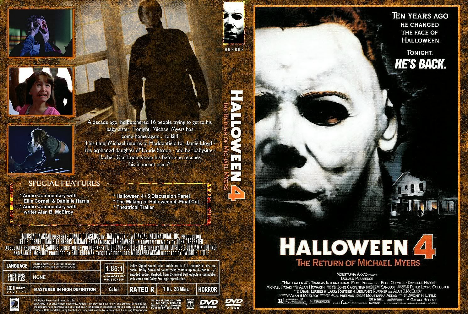 halloween 4: the return of michael myers (1988) dvd cover