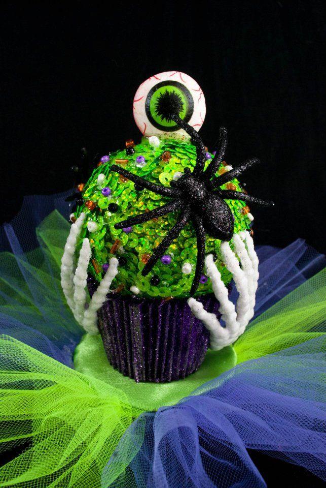 Zombie Eyeball Cupcake Hat W/ Glow in The Dark Skeleton Hands & Black Spider by Wickedheart  $65.00, via Etsy.