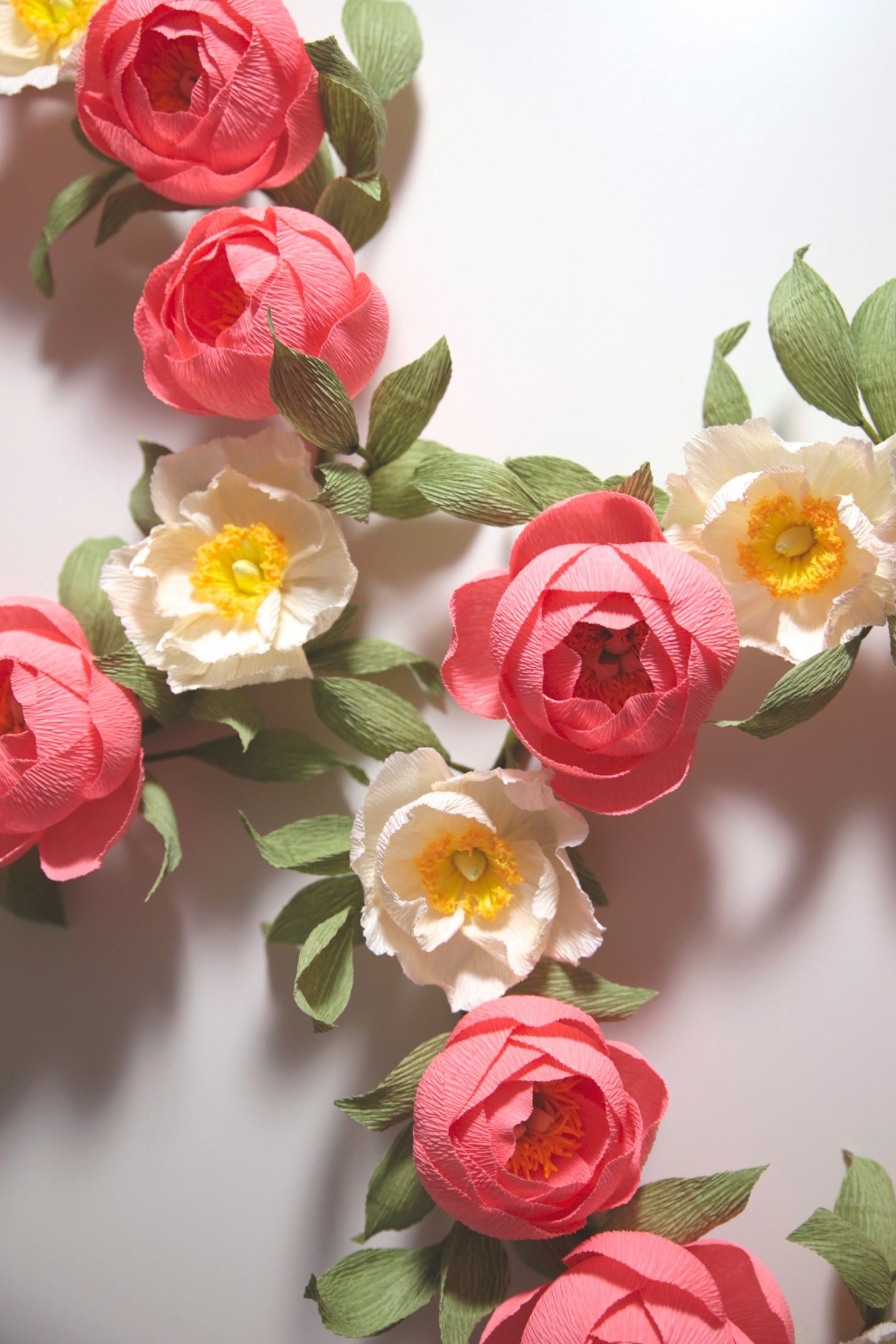 Peony Poppy Paper Flower Wreaths Handmade By Papetal