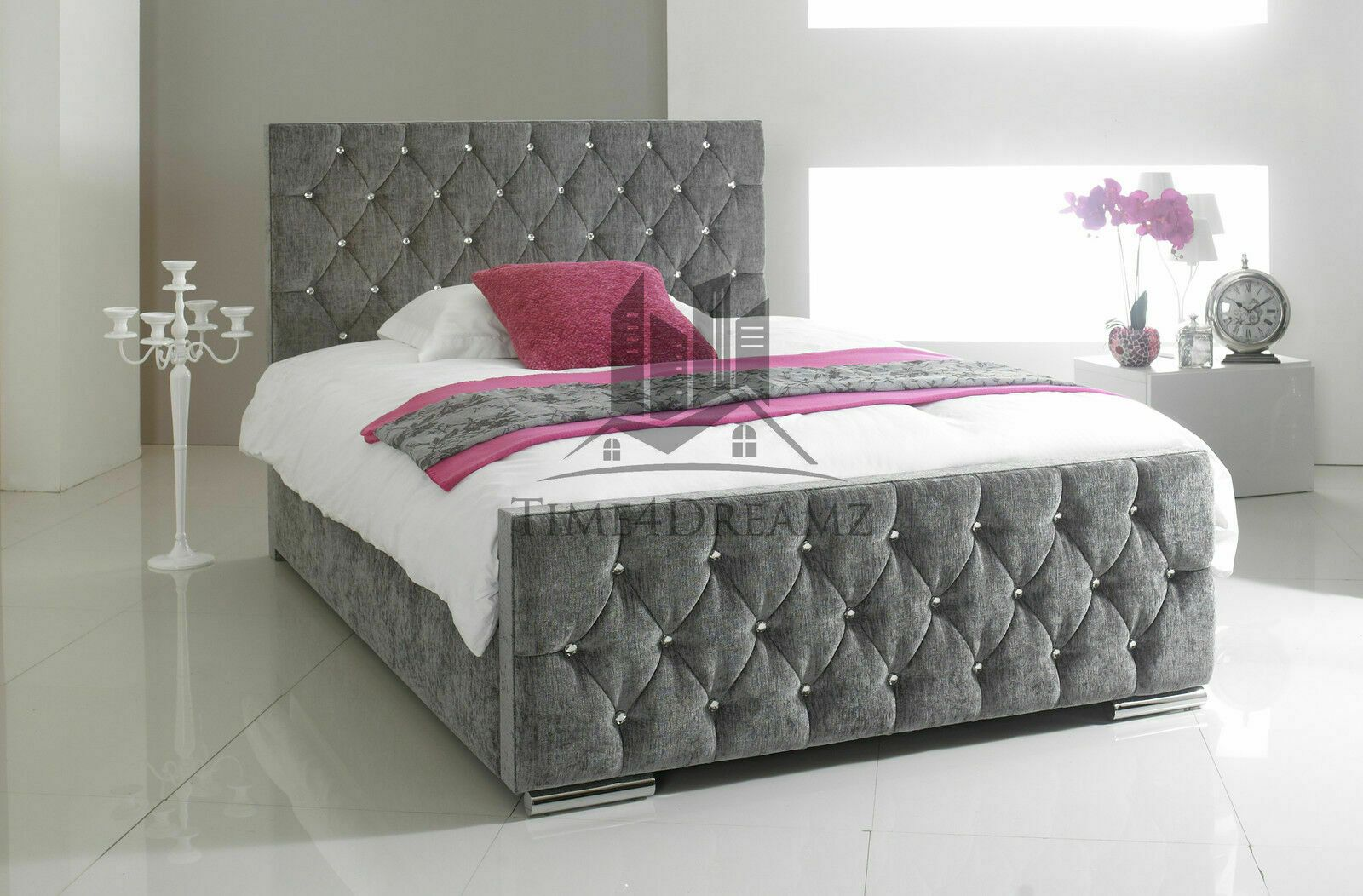 King Size Bed Frame In 2020 Fabric Upholstered Bed Fabric Bed