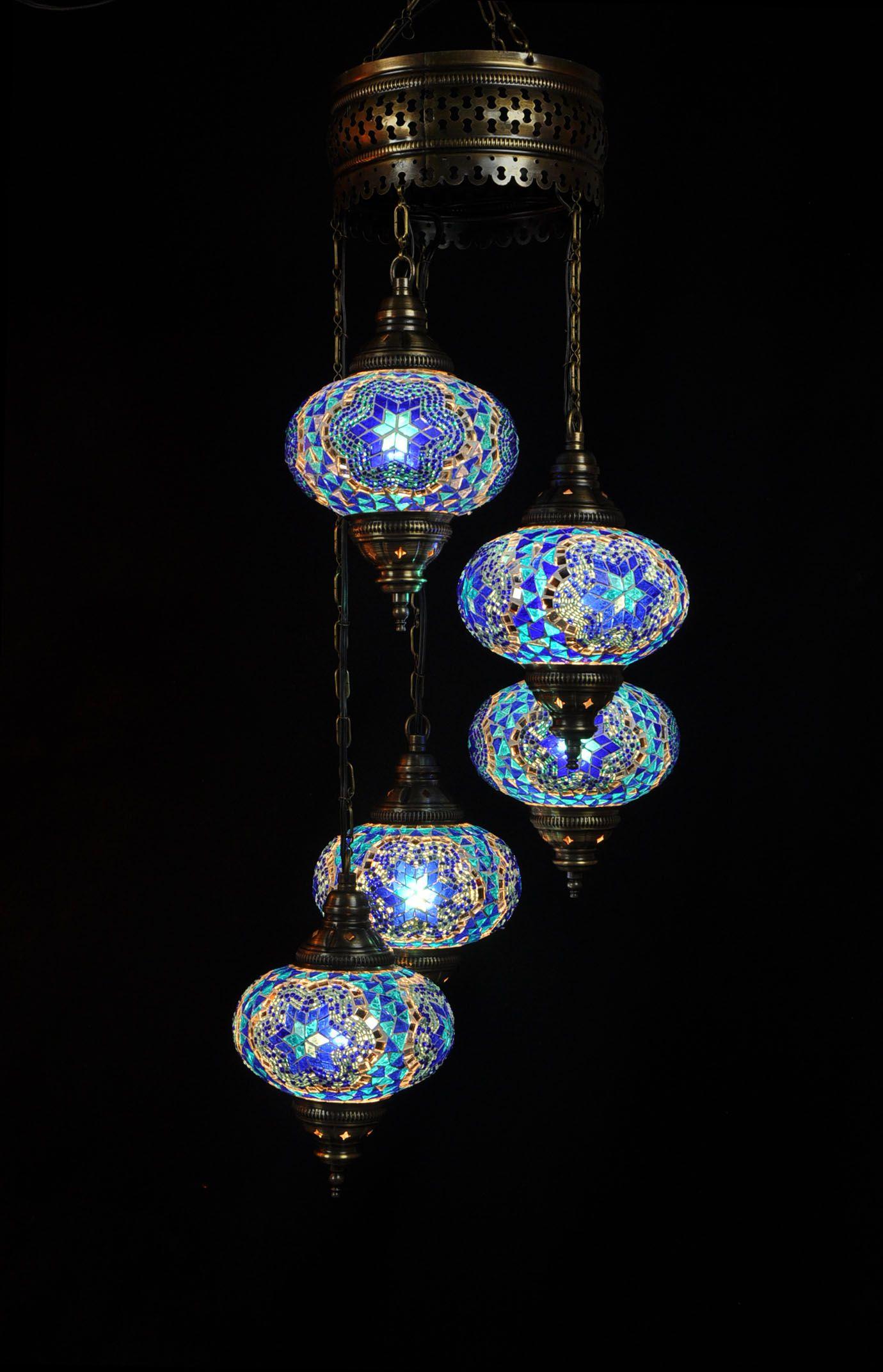 Oosterse Mozaiek Lamp Blauw 5 Bollen Oosterse Lampen Blauwe Lampen Turkse Lampen Hangende Lampen