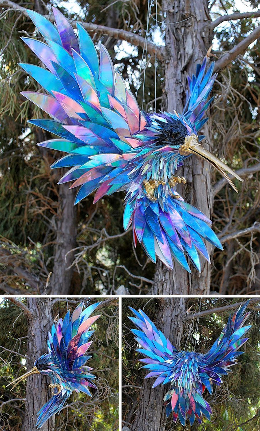 Artist Recycles Old CDs by Turning Them into Adorable Animal Sculptures #recycledart