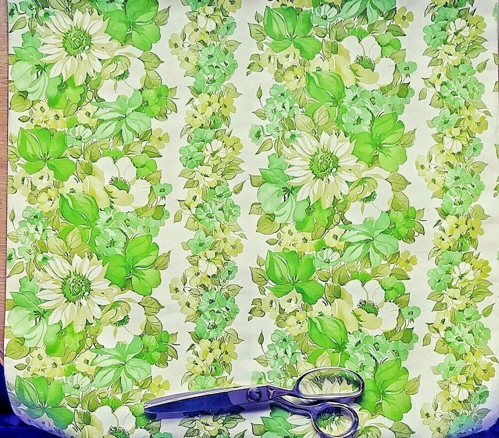Details about 2 Rolls 1970s Vinyl Wallpaper Green Floral