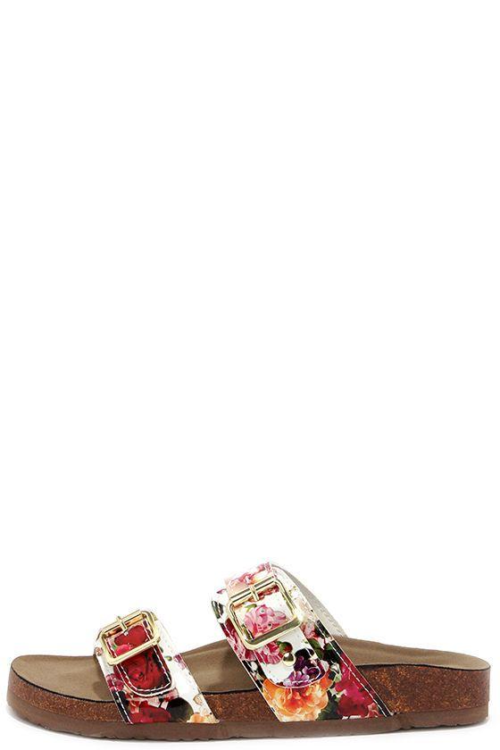 c5734683954bd Madden Girl Brando White Multi Floral Print Slide Sandals at Lulus.com!