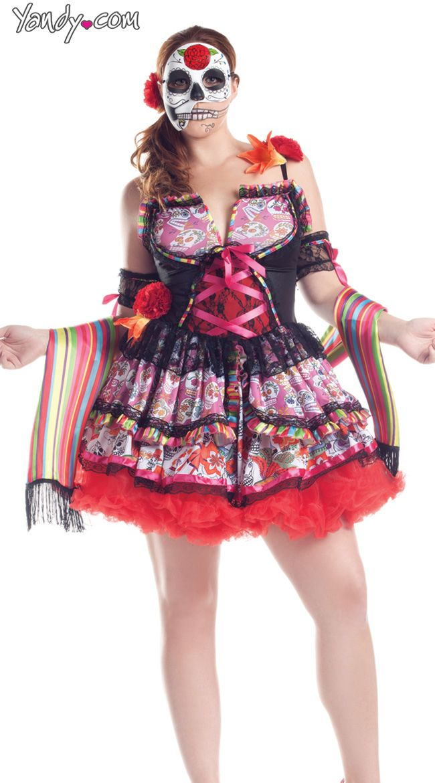 e9545c3323b Plus Size Deluxe Day Of The Dead Costume