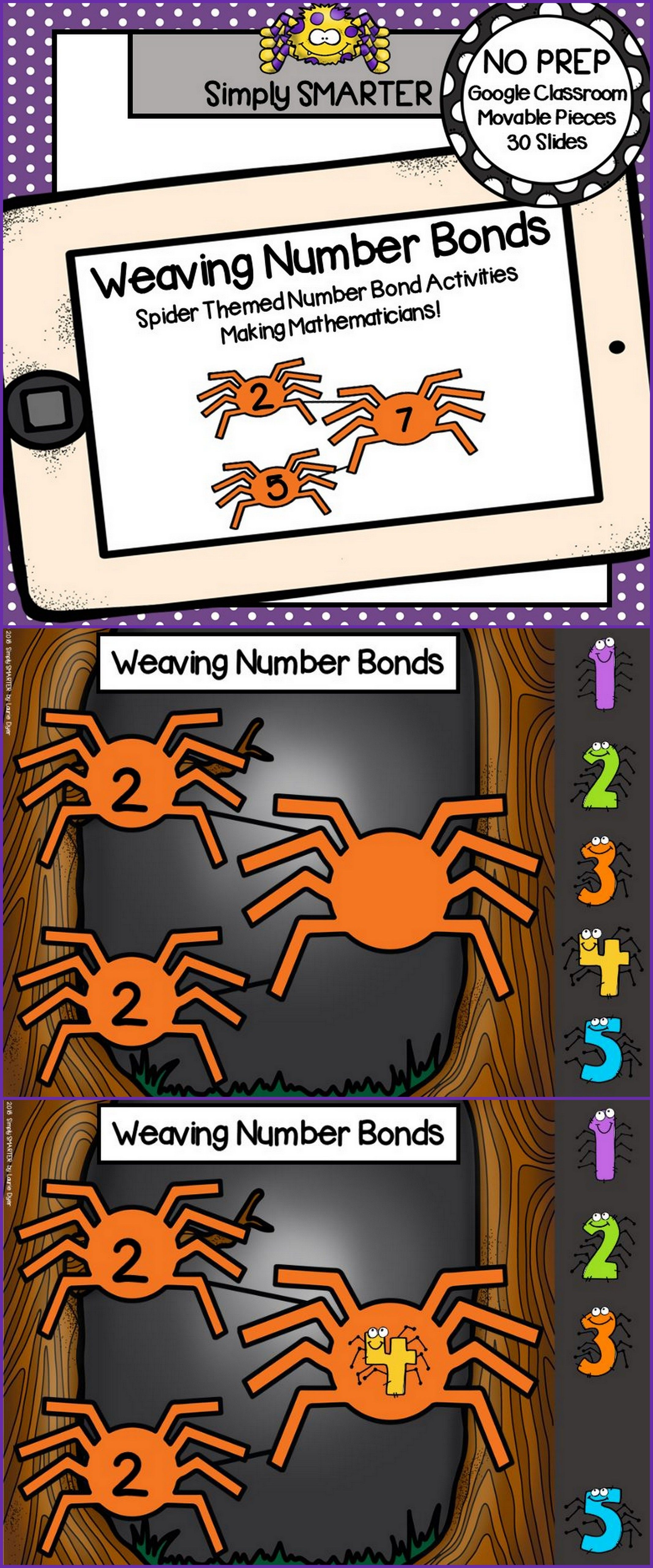 Spider Themed Number Bond Activities For Classroom