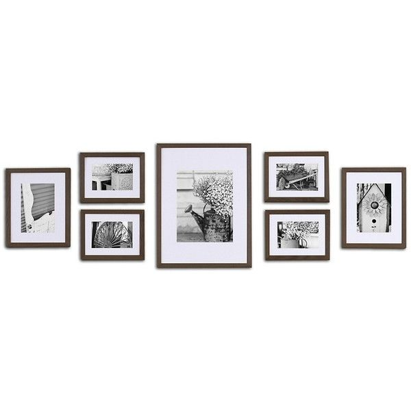 Walnut Wood 7-pc. Gallery Wall Picture Frame Set (120 CAD) ❤ liked ...