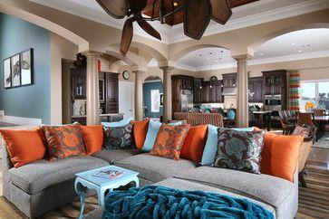 Gray Blue Orange Living Rooms Aqua Design Ideas