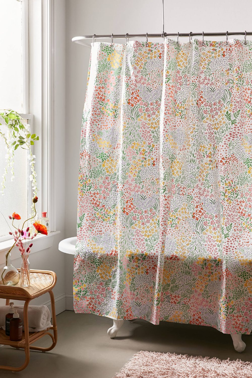 Meadow Floral Peva Shower Curtain Floral Shower Curtains Curtains Bathroom Renovation Cost