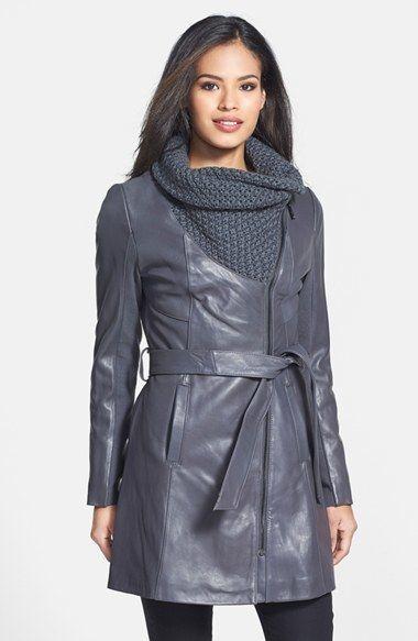 Elie Tahari 'Alexandra' Knit Collar Belted Leather Coat $695.00 $347.49