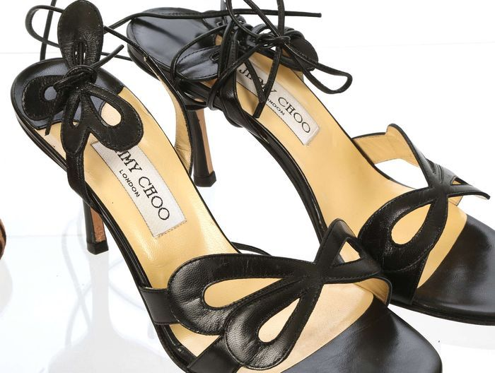 5136af08c140 Catawiki online auction house  Jimmy Choo. Black leather butterfly court  shoes. Size 38.