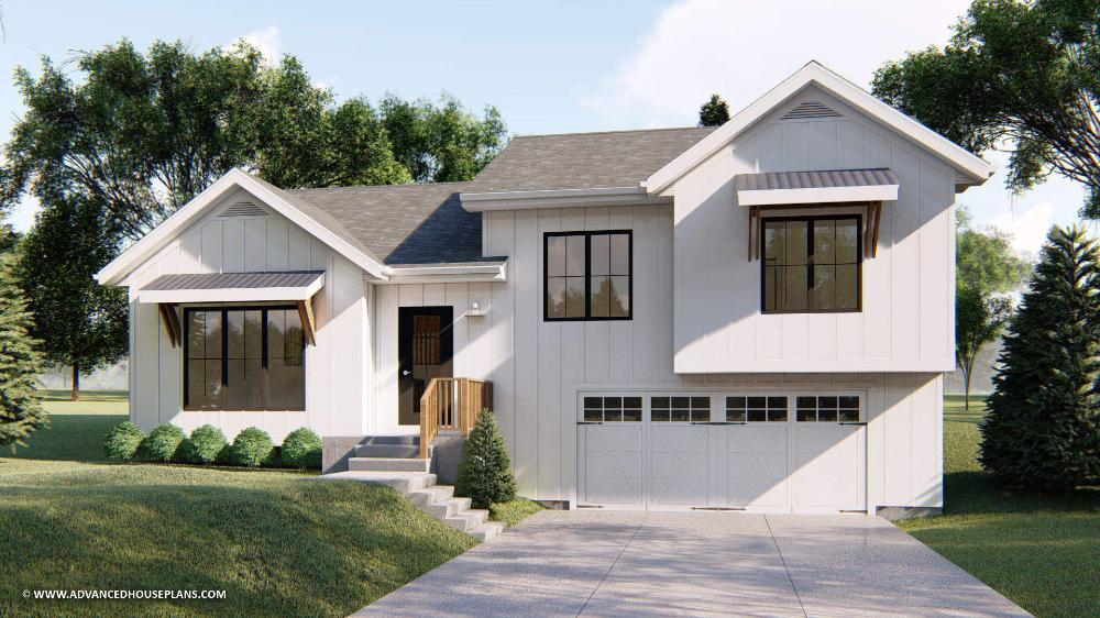 Split Level Modern Farmhouse House Plan