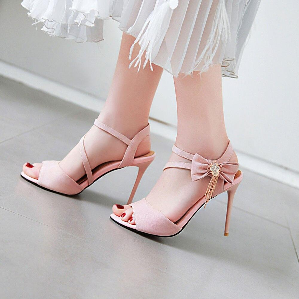 Women S Casual Shoes Thin High Heels Summer Shoes Bow Tie Sandals Touchy Style In 2021 Casual Shoes Women Girls Dress Shoes Heels [ 1000 x 1000 Pixel ]