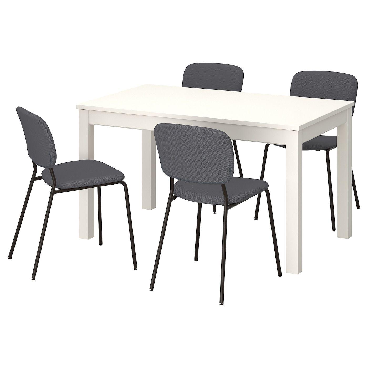 Laneberg Karljan Tisch Und 4 Stuhle Weiss Dunkelgrau