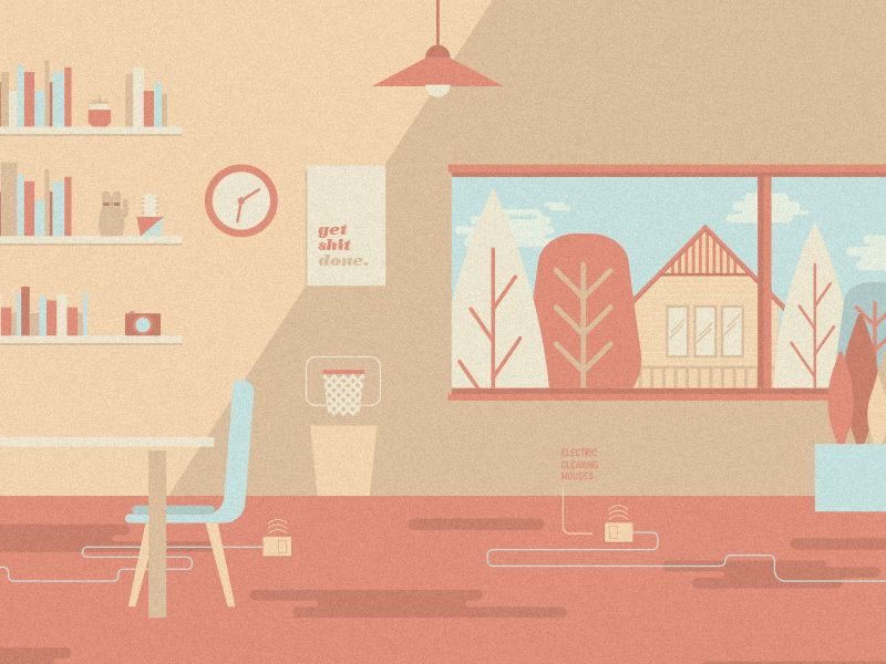 Co Working Office Space Illustration