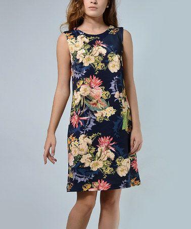 Look at this #zulilyfind! Navy Floral Sleeveless Dress - Plus Too #zulilyfinds