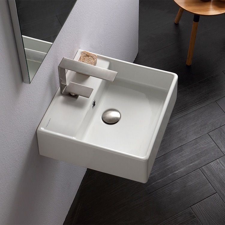 Square White Ceramic Wall Mounted Or Vessel Sink With Images