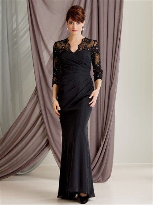 e607402f347 longhems.com long black dress with sleeves (15)  longdresses.  Trumpet Mermaid scalloped long black lace modest mother of the bride ...