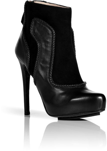 Black Suedeleather Platform Ankle Boots with Woven Trim - Lyst