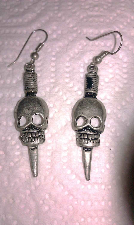 Vintage 80's Skull & Dagger Earrings. $15.00, via Etsy.