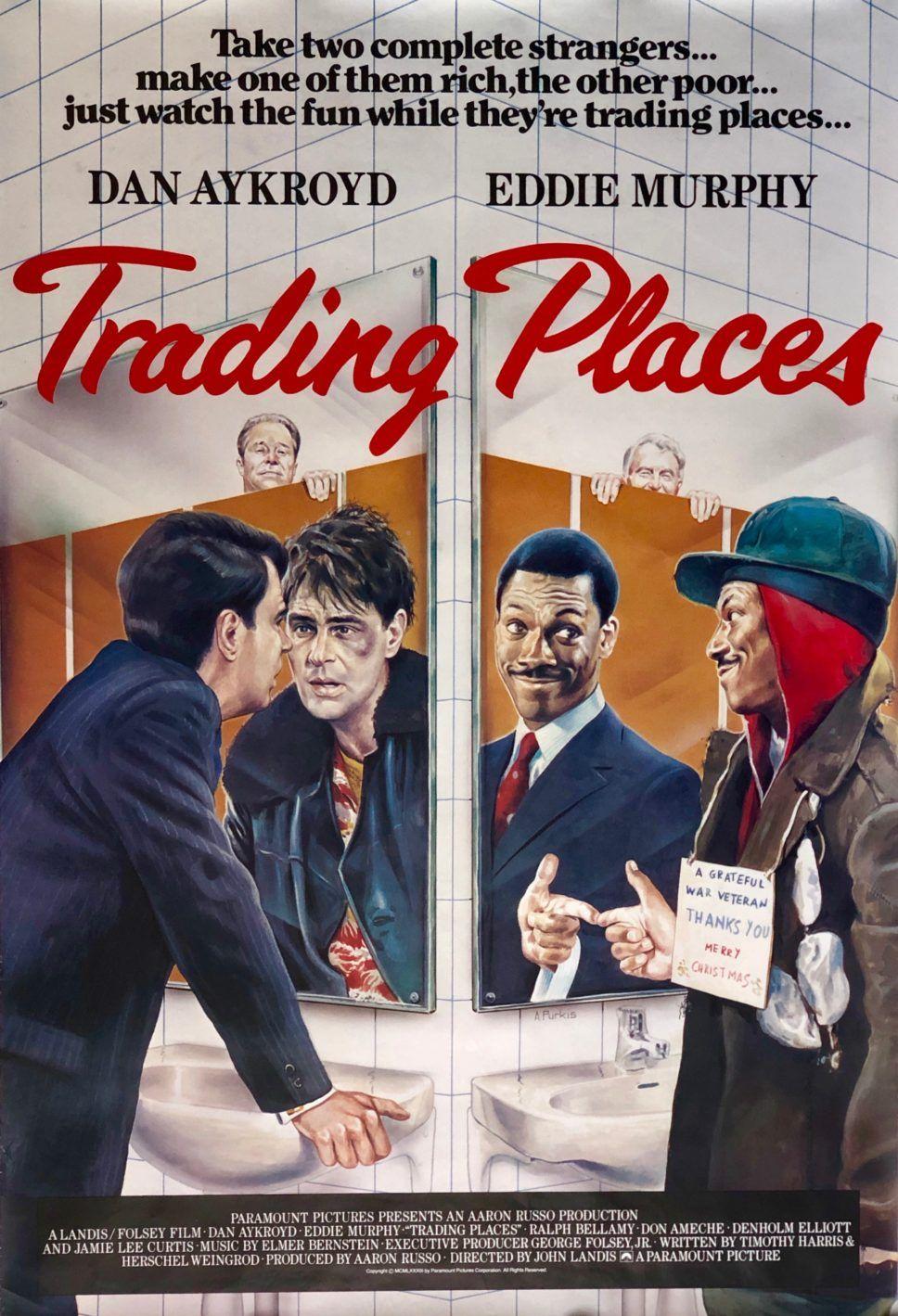 Original Trading Places Movie Poster Eddie Murphy Dan Ackroyd John Landis Trading Places Movie Posters Comedy Genres