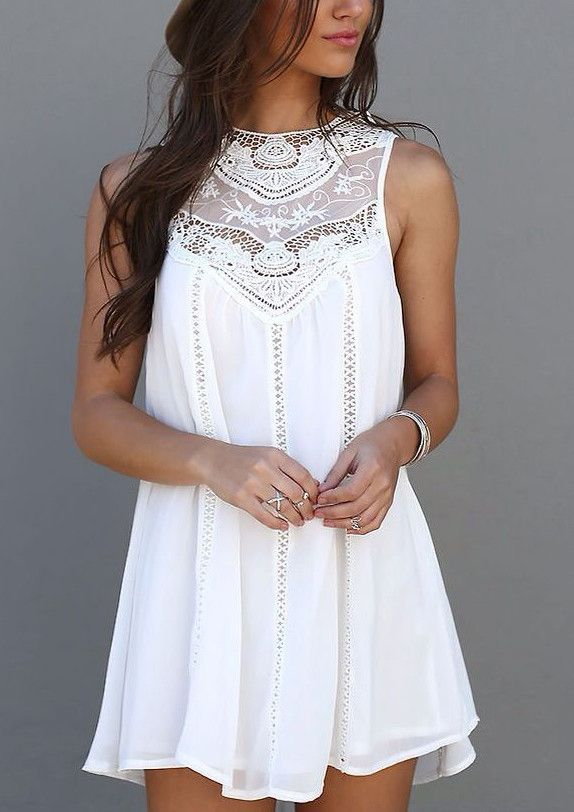 de257fbc854f Sleeveless Crochet Hollow Shift Short Loose Dress