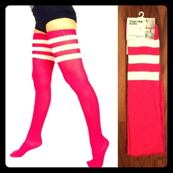 BNWT AMERICAN APPAREL thigh high socks in hot pink!  $16 Brand new w/tag AMERICAN APPAREL 30 in from heel thigh high socks! Hot pink with white stripes on top! Great for fall/winter! Even wear them under your slacks for your commute! Currently unavailable through American Apparel website. Live in pet/smoke free home! Happy to bundle! Thanks for looking! #beauty #style #fashion #fashionista #socks #accessories #lingerie #Halloween #accessories #socks