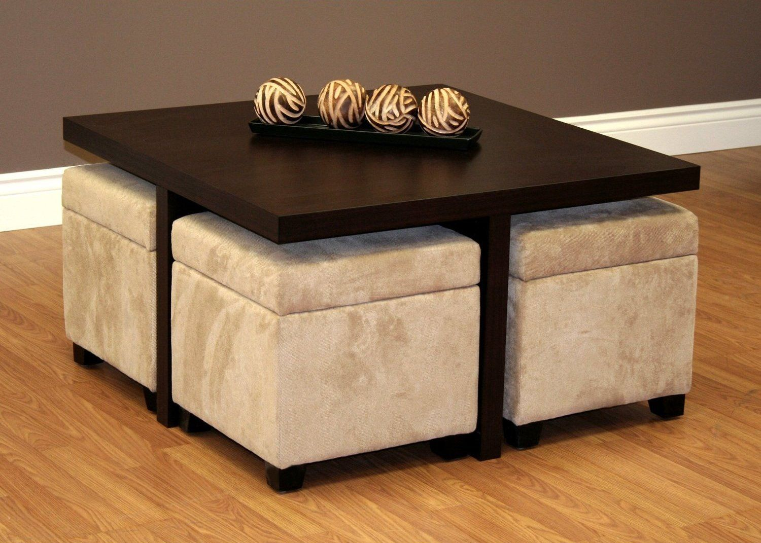 coffee table with stools underneath | beach house furniture ideas
