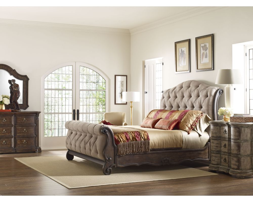 Casa Upholstered Sleigh Bed Beds Bedroom