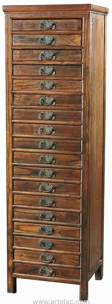 Antique File Cabinet With 18 Drawers Dimensions: X X