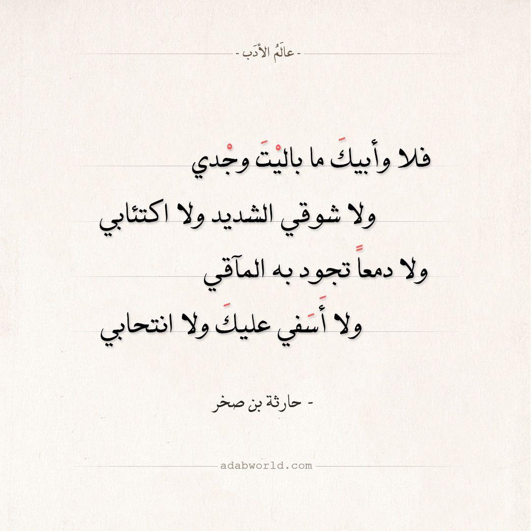 شعر حارثة بن صخر تركت أباك بالأدوات كلا عالم الأدب Arabic Calligraphy Art Arabic Calligraphy Calligraphy Art
