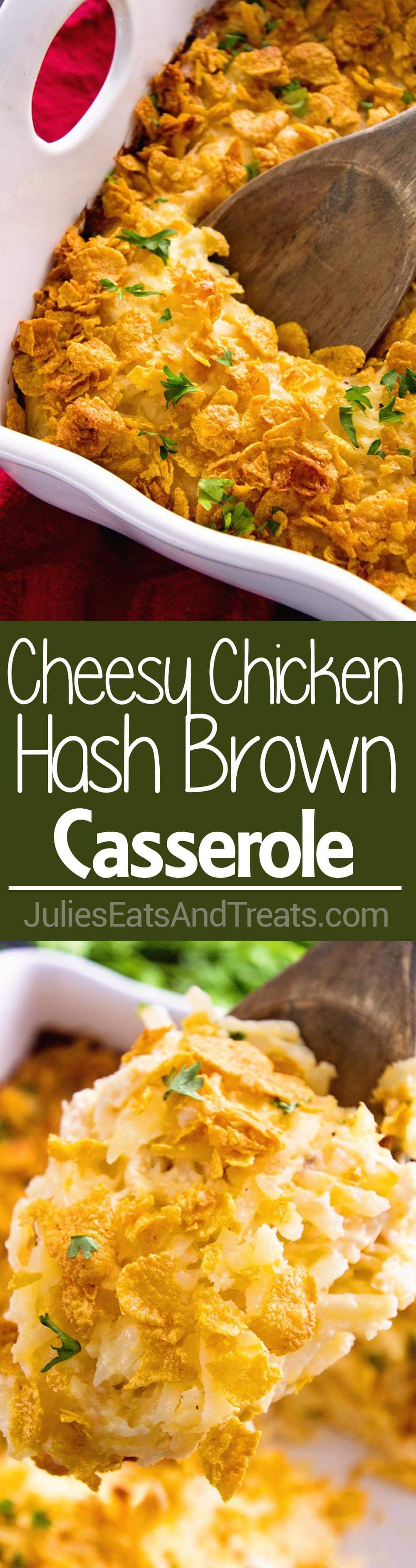 Cheesy Hash Brown Chicken Casserole ~ Your Favorite Cheesy Hash Brown Casserole In a Main Dish! Comforting Casserole Loaded with Hash Browns, Cheese, and Chicken Perfect for Dinner! ~ http://www.julieseatsandtreats.com #ad #breakfastlovers @simplypotatoes