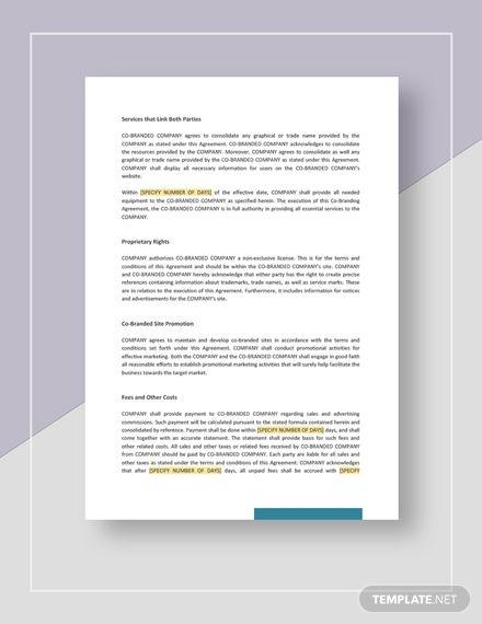 Co-Branding Agreement Template Free PDF - Word (DOC ...