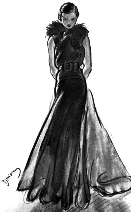 CHANEL evening gown in black organdi, 1932