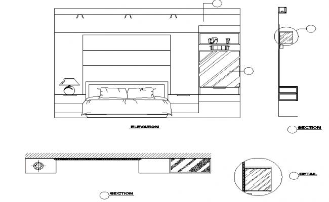 Bedroom Elevation And Section Dwg File Elevation Elevation Drawing Bedroom