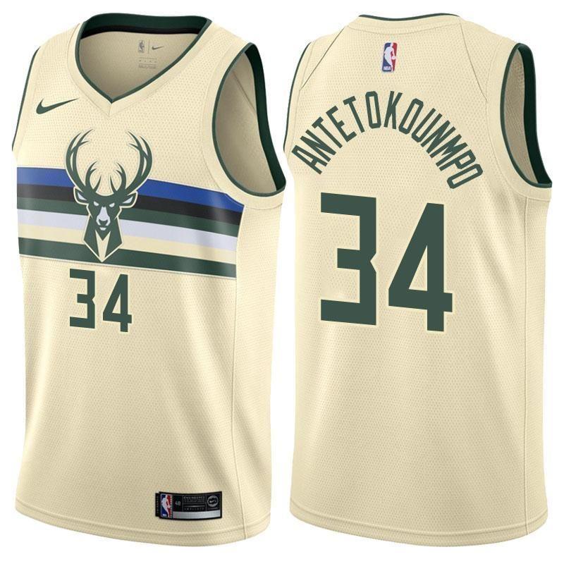 Men s Milwaukee Bucks Giannis Antetokounmpo Jersey Cream Swingman City  Edition 3342df159