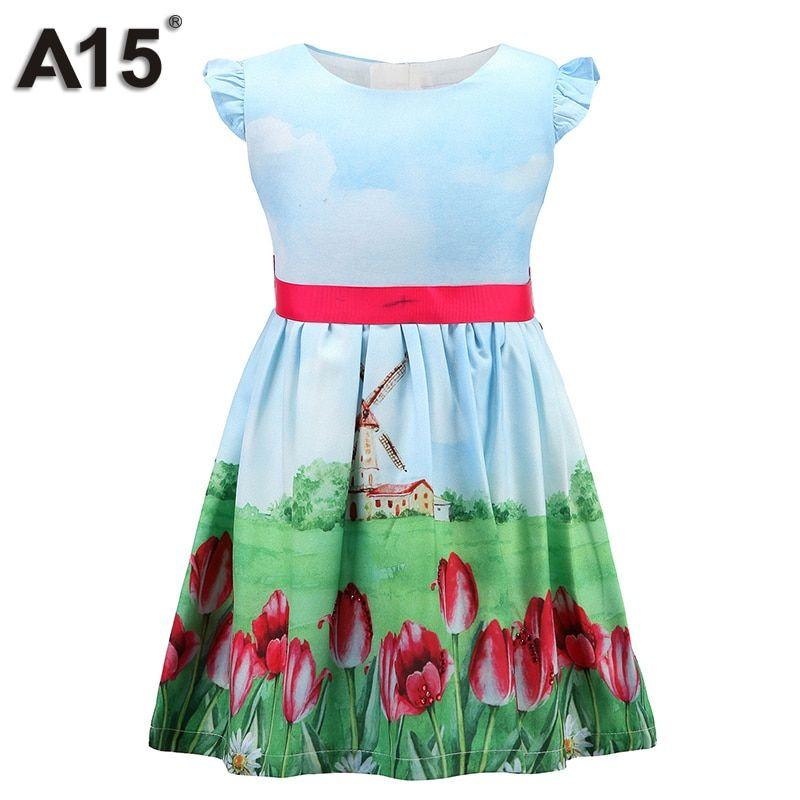 A15 Princess Flower Girls Dress Summer 2017 Party Dress Girls Wedding  Elegant Little Girls Dresses Toddler 307def5e0745
