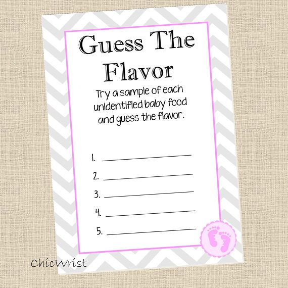 Printable Baby Shower Game Guess The Flavor Baby